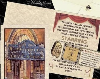qty 125 Hollywood Movie Old Theatre Cinema Wedding Invites, birthday, sweet 16, anniversary, party, Invitations, mini tickets and RSVP cards
