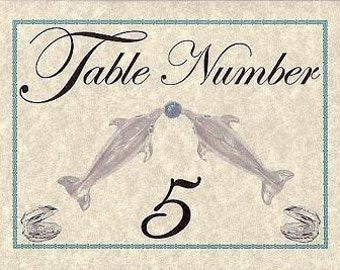 qty 10 Dolphin Luck Number Table Cards Wedding Party Favors