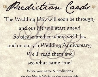 qty 50 Monogram Wedding Party Favor Favors Prediction Cards