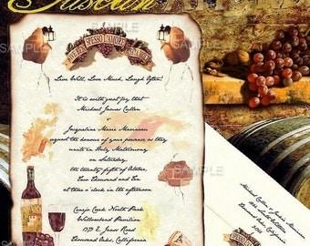 qty 200 Tuscan Amore Vineyard GrapesTheme Wedding Invitations Tuscany Wine Tasting Themed Party aged scroll scrolls invites