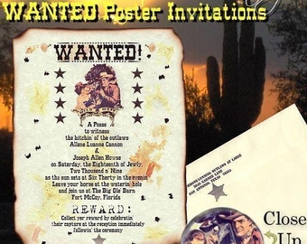 Qty 250 Wild West Old Western Wanted cowboy Wedding invites, birthday, sweet 16, anniversary Invitations poster scrolls