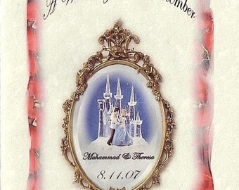 qty 50 Cinderella princess FairyTale Castle Mirror Wedding party Favors Programs / Order of Events (Outside Only Print)