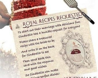 Qty 50 Cinderella Wedding Favor recipe Cards for invitations