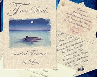 qty 50 Dolphin Eternity Wedding Invitations reception info cards and printed envelopes