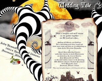 qty 100 Graveyard Halloween Wedding Scroll Invitations, Reception Tickets, Response RSVP Cards, and Thank You Cards Package Deal