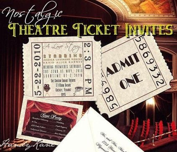 qty 75 Wedding Invites, birthday, sweet 16, anniversary, Invitations Hollywood Movie Tickets and Reception Cards