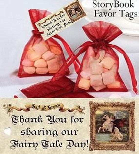 Storybook Wedding Gift : Wedding Favors Favor Tags Storybook Cinderella Fairytale qty 100