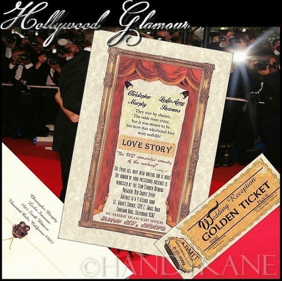 qty 50 Hollywood Glamour Movie Theme Wedding Invitations and Reception Mini Tickets