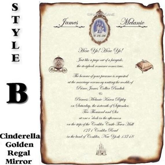 Qty 50 Wedding Scroll Invitations Royal Scroll Style A Gold
