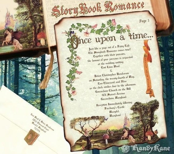 Qty 50 Wedding Invitations Storybook Fairy Tale Butterfly