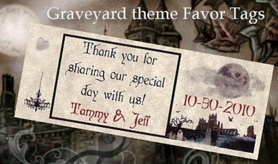 qty 50 Graveyard Halloween Wedding Favors Favor Tags