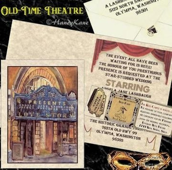 125 Theatre Movie Old Hollywood Wedding Invitations Tickets Graduation, Quinceanera, Birthday, Sweet 16, Anniversary