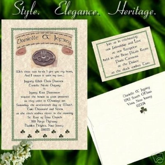 qty 25 Irish Wedding Invites, birthday, sweet 16, anniversary, Invitations Claddagh Celtic Shamrock and Reception Cards