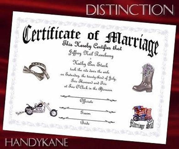 BIKER Motorcycle WEDDING favors Marriage Certificate