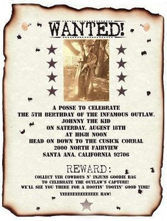 Photo Wanted Poster Western Cowboy Invitations By Handykane