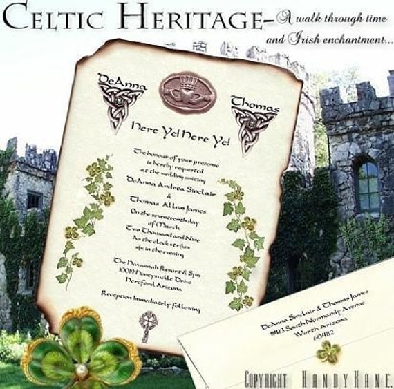 Irish Wedding Invitations: IRISH Claddagh Celtic CLOVER Wedding SCROLL INVITATIONS Green