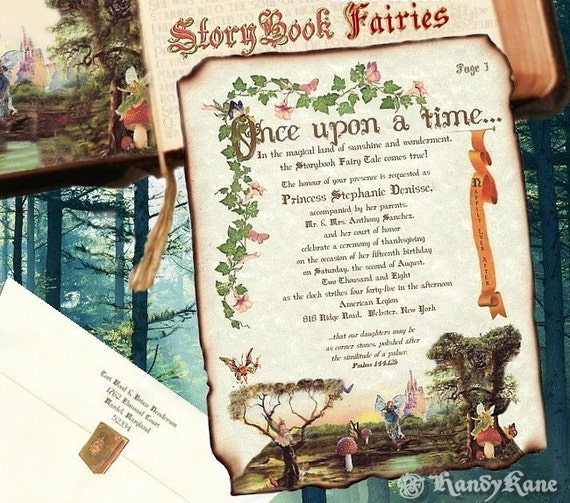 STORYBOOK Fairy Tale butterfly cinderella SCROLL INVITATIONS