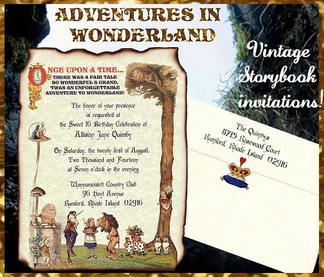 125 Original ALICE In WONDERLAND Wedding Sweet 16 Invitations