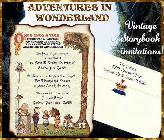 125 Original Alice In Wonderland Wedding Sweet 16 Invitations