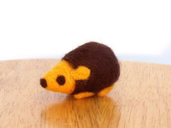 Needle Felted Hedgehog Animal Sculpture Brown and Yellow - Made to Order - Cute Felt Hedgehog Art Woodland Creatures