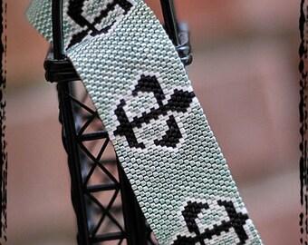 Fleur DE LIS peyote bracelet cuff beading pattern PDF personal use download