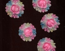 5 Romantic Japan Vintage Plastic Celluloid Roses Cabochons Bouquet Wreaths Cabs Jewelry Findings Hand Painted