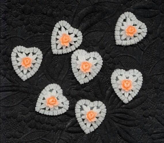 Japan Vintage Plastic HEART Charms Pendants Filigree White Orange ROSES Cabs sew ons 19mm x 16mm