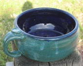 Stoneware Pottery Royal Blue  and Teal Green Soup Bowl   306