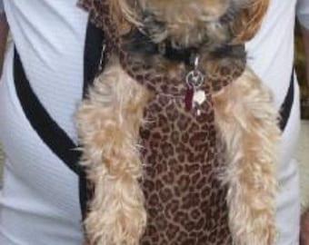 Dog Pet Carrier Cat Tote BackPack Front Back Pack Comfy Leopard Med - Lge size smaller breeds or large Feline 1/2 off Retail Show price