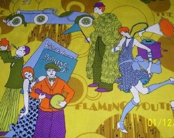 Flapper Burlesque Vintage Fabric Roaring 20's scenes Cotton Greyhound Whippet