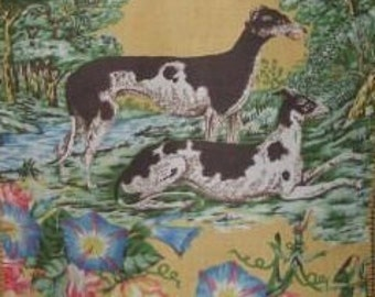 Greyhound Whippet Dog Panel Linen Fabric Make your own Pillow Tote Bag Handbag or any Decorator project - Retails for 218 dollars per yard