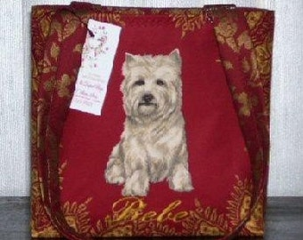 Westie Handbag West Highland White Terrier Tote Fabu Bamboo Handles or Straps Monogram