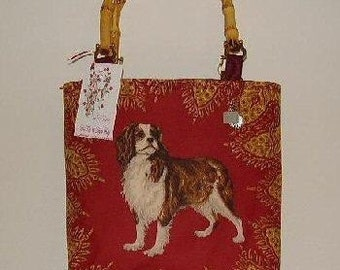 King Charles CAVALIER SPANIEL Dog Handbag Tote Purse An Original SELENE Custom Monogram Bamboo Handles or Straps