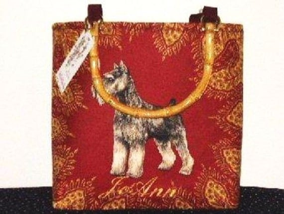 Schnauzer Handbag Tote Purse A Fabulous Selene Original sKs Designer fabric Standard Mini Dog Sks
