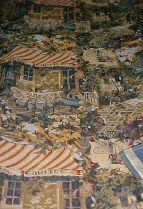 Pictoral Tapestry Coverlet Throw Blanket Hand Made Custom France French Scene