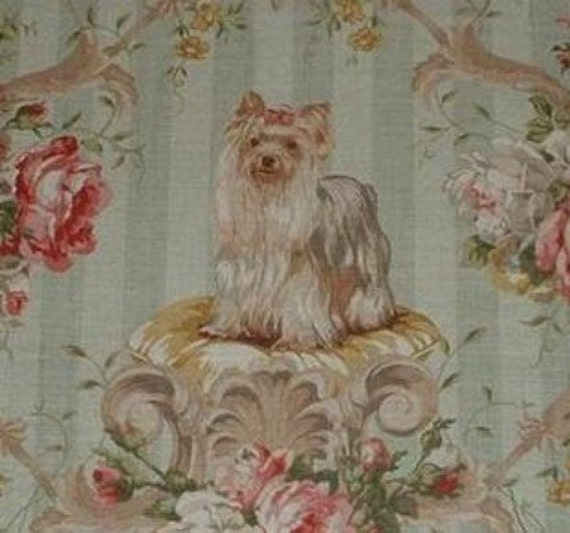 Yorkie Dog Linen Fabric Panel Sage Lee Jofa By Sksboutiqueco