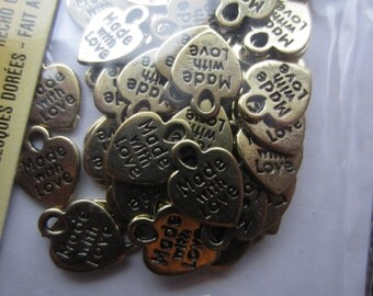 Heart Charms Made With Love 210 Pc Gold Tone Jewelry Making Tag Charm