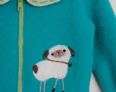 Sweater Jacket - Pieced Recycled Wool with Needlefelted Lovie Lambs, size 1-2 OOAK HANDMADE by Val's Art Studio