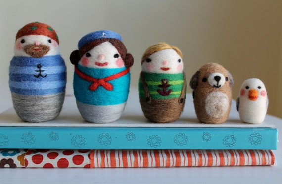 Needle Felted Nested Sailor Doll Family, Build Your Own Set, Handmade by Val's Art Studio, Felt Nesting Dolls, Nesting Doll Family