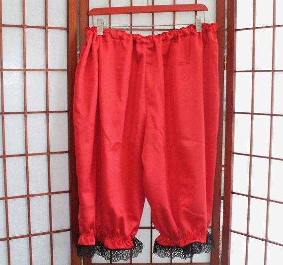 Women's RED SATIN Bloomers Pantaloons Black Lace Ruffle sz. XLg. - 3X