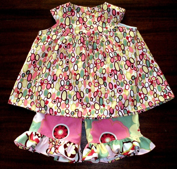 SALE Pink Kleo Bangles Set TODDLER GIRLS 2T-4T Swing Top Shorts Ruffles Alexander Henry