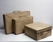 RESERVED for JASBIR Creme Colored Vintage Luggage Set You Choose Design