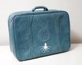 Vintage Upcycled XXL Turquoise Octopus Suitcase