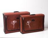 Vintage Red Tweed Luggage Set With Screen Printed Trees