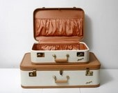 RESERVED FOR GLOWINTING Two Tone Vintage Luggage Set You Choose Design