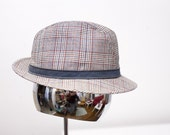 Men's Fedora / Vintage Plaid Hat / Chapeau