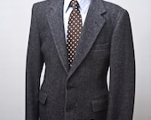 Size 44 Vintage Sport Coat Upcycled with Screen Printed Anchor