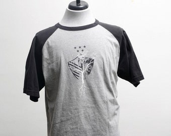 Large New York Upcycled Jersey Tee Shirt with Screen Printed Tree