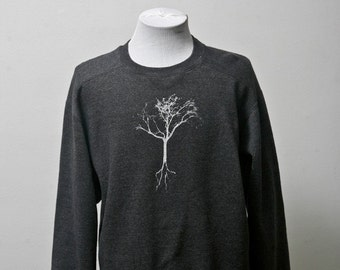 Upcycled Comfy Sweatshirt / Screen Printed Tree / Unisex / Grey / Size Small Medium Large