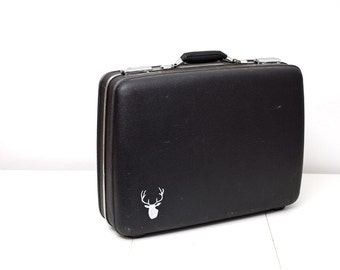 Grey American Tourister with Hand Painted Stag